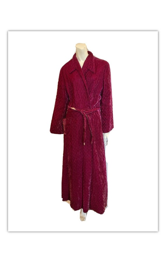 Vintage 40s Raspberry Quilted Fitted Dressing gown