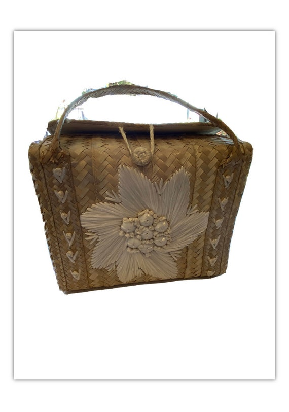 Vintage 60s Woven Straw Bag Raffia White flowers B