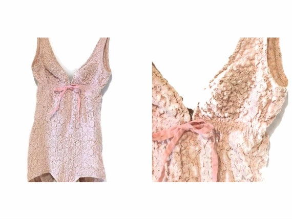 1960's Vintage pink lace swimsuit / oleg cassini /