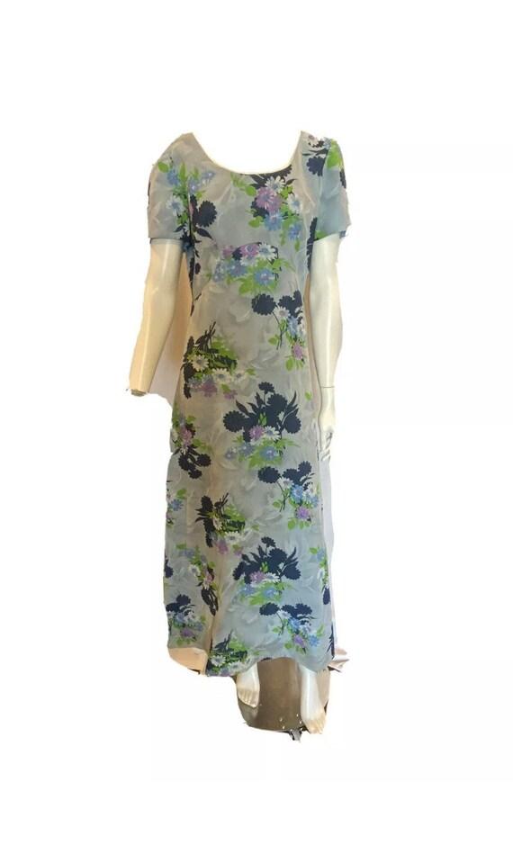 Vintage 60s blue floral empire waist tea length dr