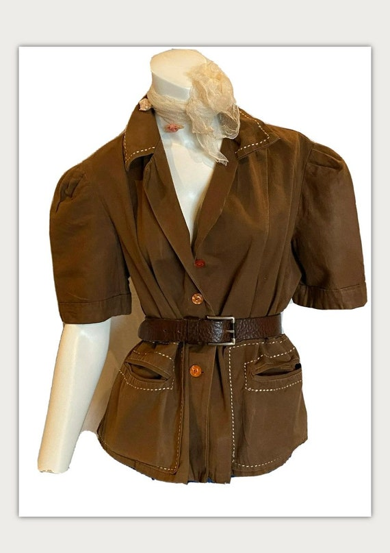 Vintage 40s Brown Cotton Blouse jacket Homemade Vo