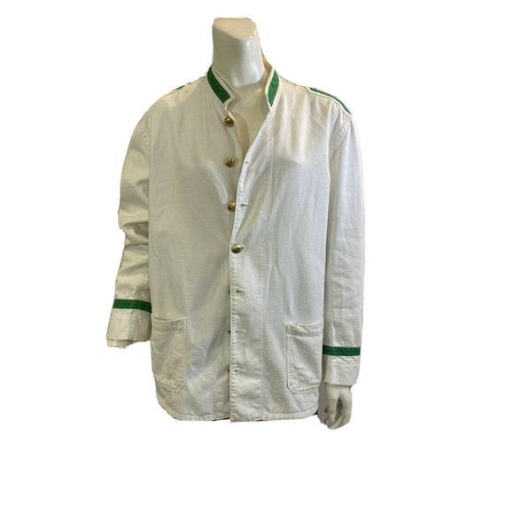Vintage 30s Doorman Jacket / White with Brass butt
