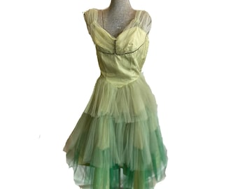 Vintage 50s Pale Green Tulle Party Dress Off the Shoulder Handmade