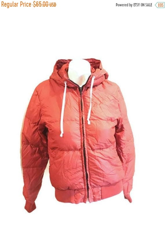 ec5934a60 ON SALE 70 s Puffy Coat   Hooded down jacket   Rust puffer