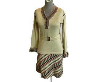 Vintage 70s 2 piece knit set striped I Magnin Beige rust green stripe