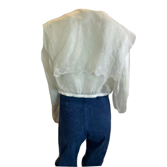 Antique 1900s Embroidered Middy Blouse White Shee… - image 2