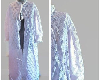 1980's Vintage Layered Lace Chiffon Robe by Miss Elaine Boudoir style Hollywood Glamour Lace Covered Buttons Size S Sissy New old stock