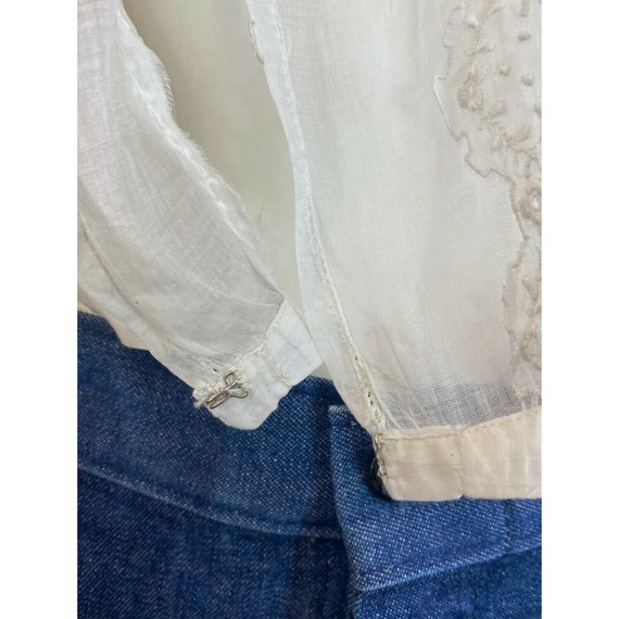 Antique 1900s Embroidered Middy Blouse White Shee… - image 6