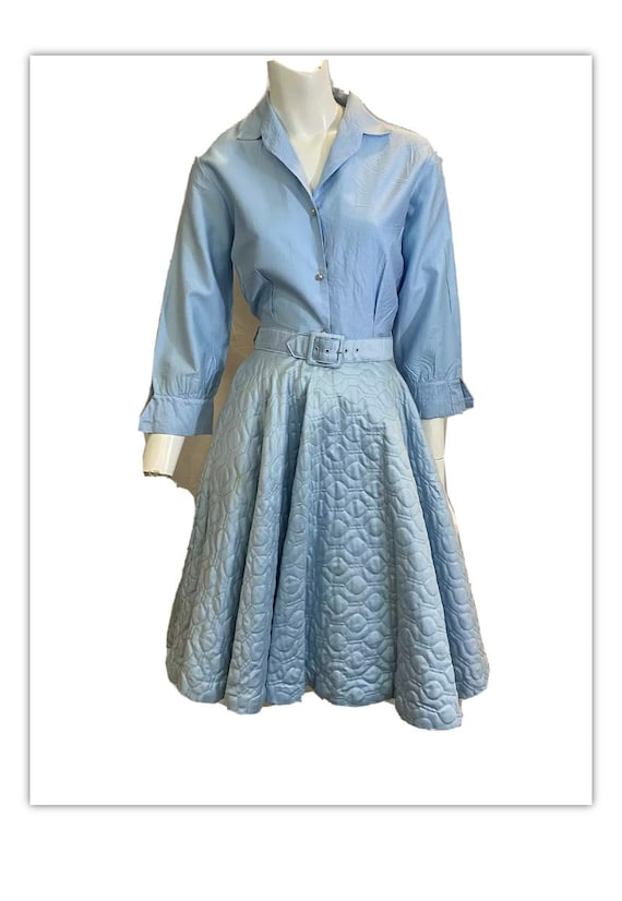 Vintage Quilted Skirt Set Blue