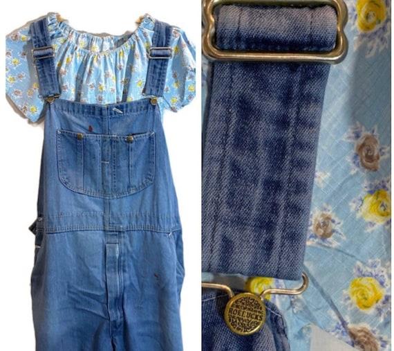 Vintage 70s Denim Workwear Overalls  USA Bib Dunga