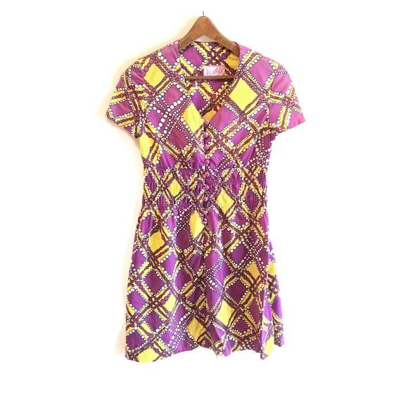 Vintage 1970s Polyester Novelty Print Dress
