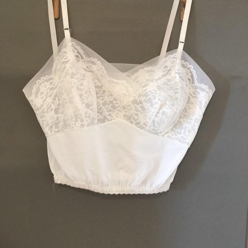 0dd4ccd62bcdb Vintage white nylon Bralette   Short midriff length cami
