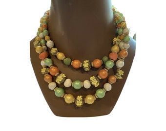 Vintage 60s Multi Strand Beaded Necklace Tropical Orange Yellow Beads Flowers