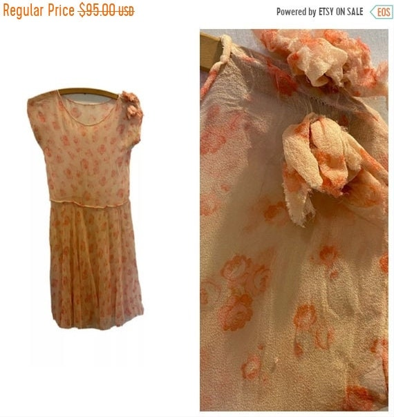 ON SALE Vintage 1920s Silk Chiffon Floral Dress
