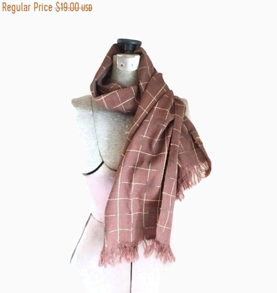 NEED PIC Vintage homespun scarf / Brown Regal home