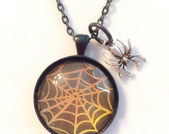Spider web necklace, spider, spider jewelry, spider web, spider web jewelry, halloween, web, spiders, spider charms, halloween jewelry
