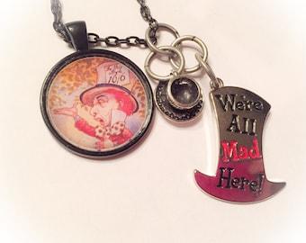Mad hatter, Alice in Wonderland, mad hatter jewelry, mad hatter necklace, disney jewelry, disney inspired, mad hatter charms, disney charms