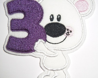 Patch Bear with number 3 application
