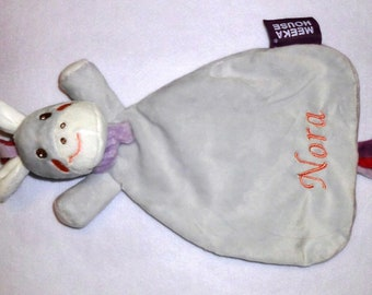 Donkey - embroidered with name cuddly towel - sniffer cloth