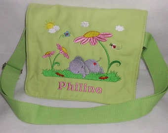 Kindergarten bag elephant on flower meadow with or without name