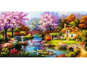 Diamand Painting Landscape with Bridge 100 x 55 cm
