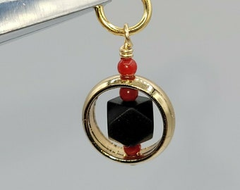 Azabache Real with Coral Goldfilled Spinner Pendant, New