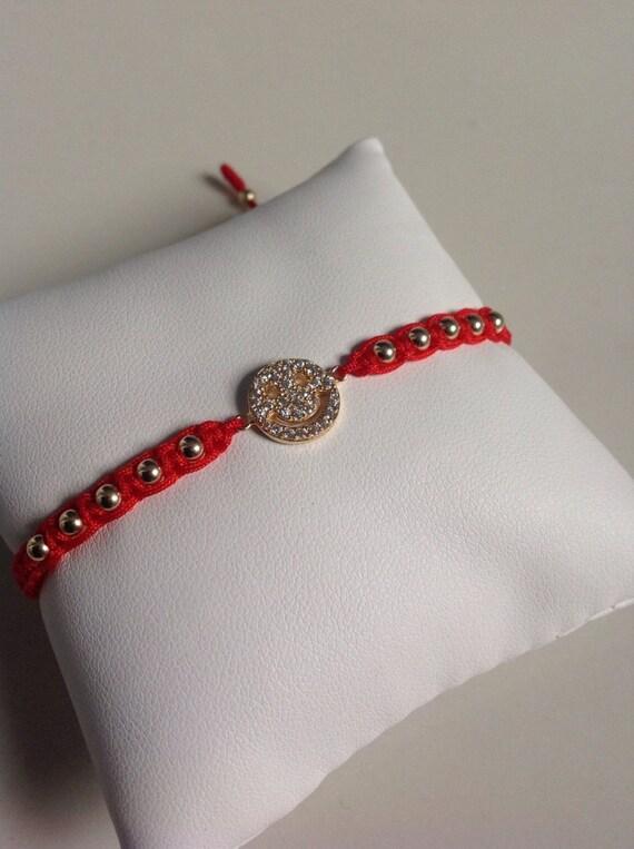 Bracelet Hamsa Sterling Silver 925 Red Macrame Cz Crystals Kabbalah Silver Bar