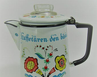 Berggren Enamel Metal Swedish Coffee Pot Vintage Folk Art Scandinavian