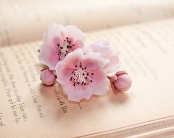 cherry blossom brooch ,sakura brooch,handmade by polymer clay