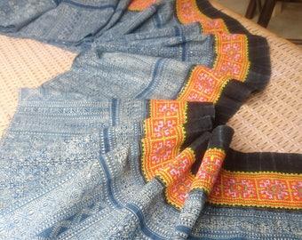 Hmong Indigo batik Ethnic Vintage Tribal Skirt Fabric Handmade Crafting Textile supplies