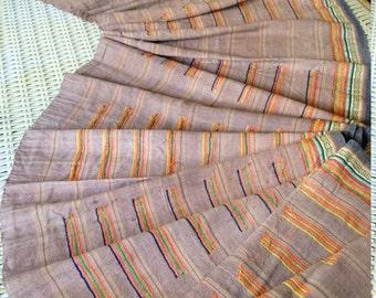 Vintage Hmong Hemp Fabric Handmade Brown Stripe textile hilltribe folk craft supplies