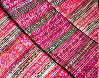Vintage Hmong Fabric stitched patch set of 4 jacket sleeves fashion Ethnic Hilltribe craft supplies