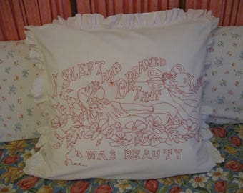 Princess Pillowcase in Embroidered Antique Turkey Red