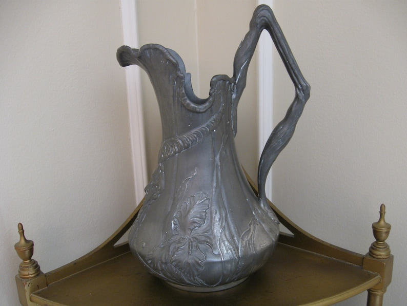 Antique Kayserzinn Pewter at Its Art Nouveau Best Pewter Wine Pitcher and Plate