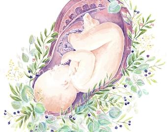 "8x10"" Baby in Womb Watercolour Print (DIGITAL DOWNLOAD)"
