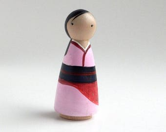 Mulan Handpainted Pegdoll - Ready to Ship {Peggies by Steph} - (CLEARANCE)