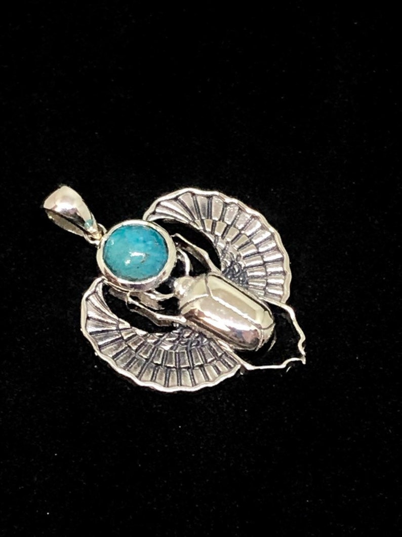 Sterling Silver Scarab Pendant with Chrysocolla Cabochon image 0