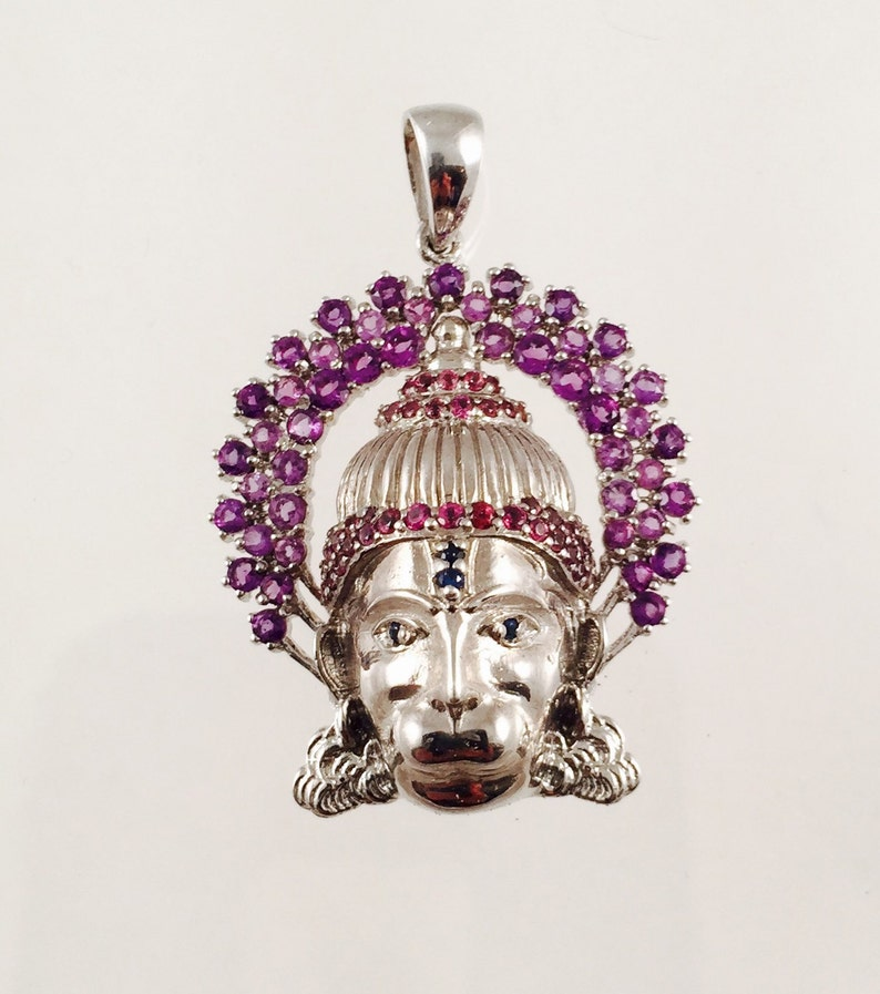 Hanuman Pendant in Sterling Silver with Amethysts Rhodolite image 0