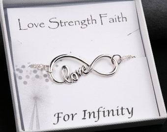 large sterling silver infinity love bracelet,Mother gift,infinity bracelet,bridesmaid gifts,