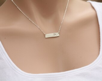 Personalized Name plated Bar necklace,initial Bar Monogram Necklace, Contemporary,Hand stamp name, Initial Rectangle necklac