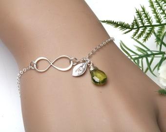 Infinity initial bracelet,hand stamped leaf Initial,custom birthstone monogram,best friend bracelet,sisterhood gift,graduation gift,mom gift