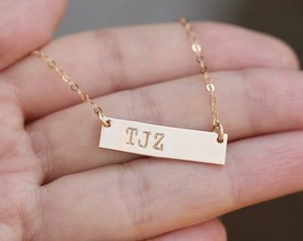 Personalized Name plated Bar necklace,initial Bar Monogram Necklace, Contemporary Bridesmaid's jewelry, Initial Rectangle necklac