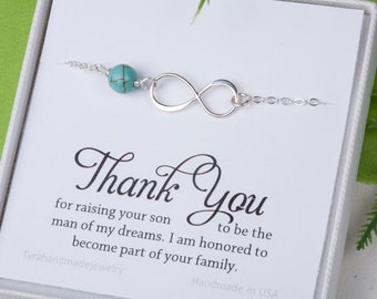 Mother of the groom gift from bride, infinity pearl bracelet, bride to mother in law gift, wedding gift for mother in law