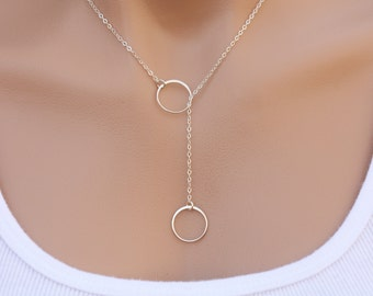 Sterling silver Circle Lariat Y necklace,Karma circle Lariat,Best friend gift,Bridesmaid Gift,Sisterhood gift,Graduation gift,birthday gift
