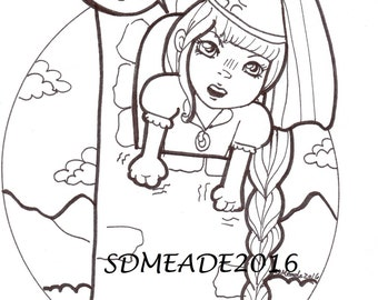 Digital Stamp Your Princess Is Pissed Adult Coloring Page Angry Rapunzel