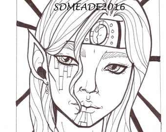 Digital Stamp-Elven Magus, Adult coloring page, male elf facial tattoos