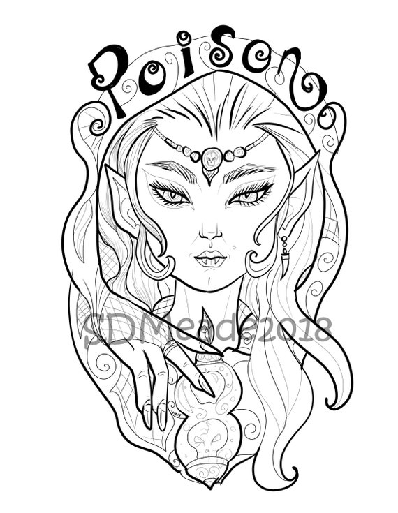 Poison Printable Adult Coloring Page Vampire Elf Sorceress Etsy