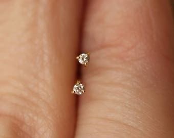 2b0f29033 Seriously Tiny Diamond Stud Earrings, Round, 1.5 mm or 2mm / 14K Solid Gold  / Yellow, White, Rose / Delicate, Minimal Genuine, Pair, Single