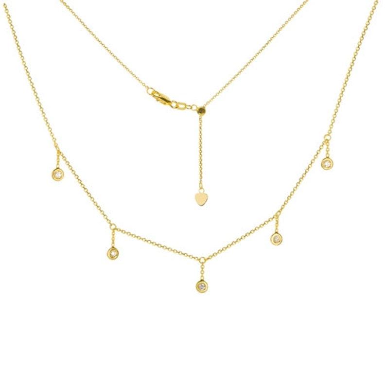f1175686af0918 14K Solid Gold Five Diamond Dangles Station Choker Necklace / | Etsy