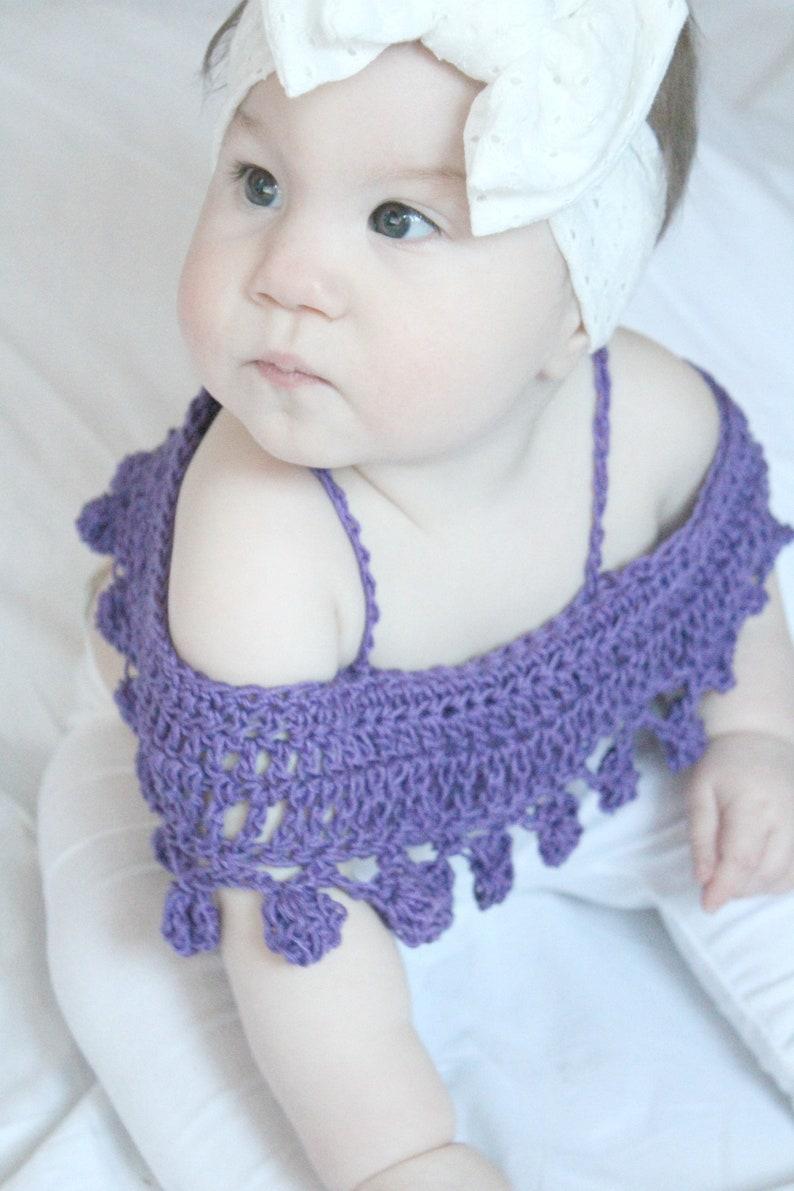 fc16138d6f1eee BABY PomPom Crop Top Crochet PDF Pattern DIY Infants Crocheted